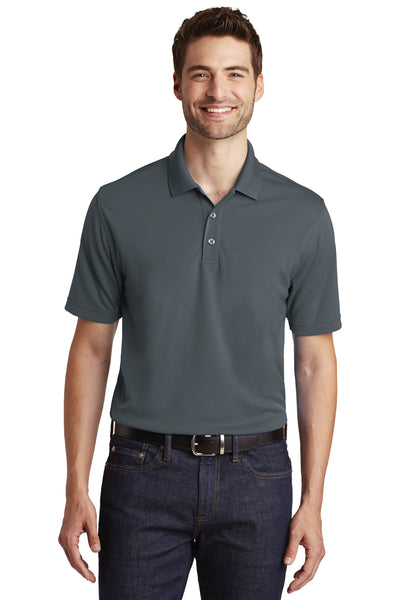 Port Authority K110 Mens Dry Zone Moisture Wicking Short Sleeve Polo Shirt Graphite Grey Front