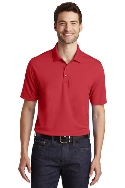 Port Authority K110 Mens Dry Zone Moisture Wicking Short Sleeve Polo Shirt Red Front