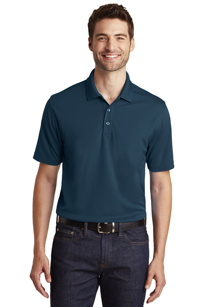 Port Authority K110 Mens Dry Zone Moisture Wicking Short Sleeve Polo Shirt Navy Blue Front