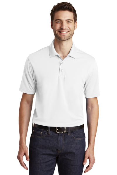 Port Authority K110 Mens Dry Zone Moisture Wicking Short Sleeve Polo Shirt White Front