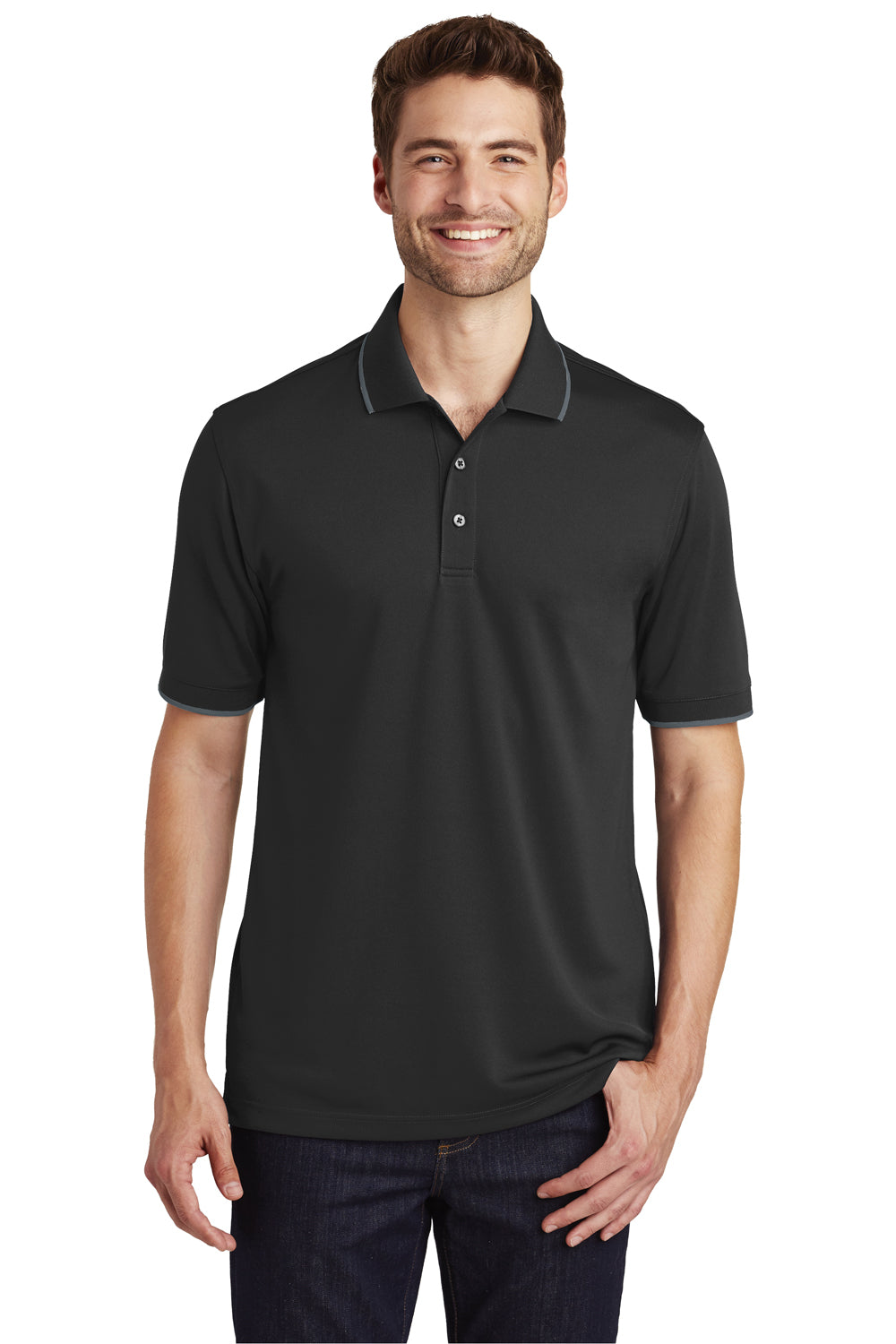 Port Authority K111 Mens Dry Zone Moisture Wicking Short Sleeve Polo Shirt Black/Graphite Grey Front