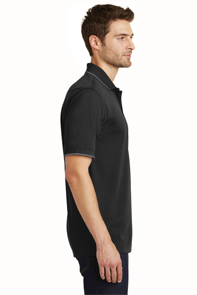 Port Authority K111 Mens Dry Zone Moisture Wicking Short Sleeve Polo Shirt Black/Graphite Grey Side