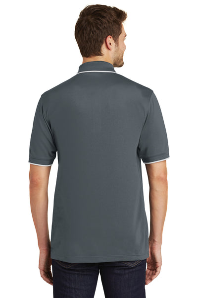 Port Authority K111 Mens Dry Zone Moisture Wicking Short Sleeve Polo Shirt Graphite Grey/White Back