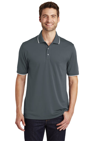 Port Authority K111 Mens Dry Zone Moisture Wicking Short Sleeve Polo Shirt Graphite Grey/White Front