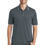 Port Authority Mens Dry Zone Moisture Wicking Short Sleeve Polo Shirt - Graphite Grey/White