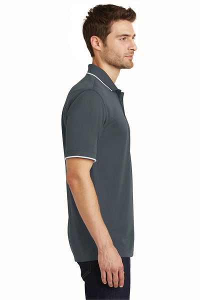 Port Authority K111 Mens Dry Zone Moisture Wicking Short Sleeve Polo Shirt Graphite Grey/White Side