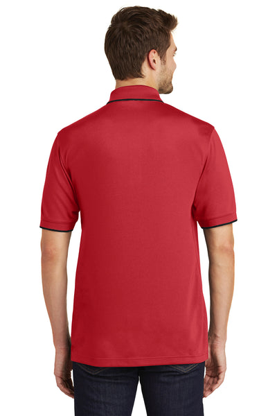 Port Authority K111 Mens Dry Zone Moisture Wicking Short Sleeve Polo Shirt Red/Black Back