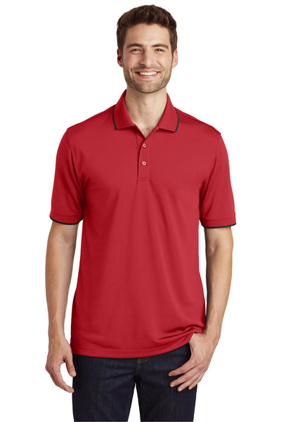 Port Authority K111 Mens Dry Zone Moisture Wicking Short Sleeve Polo Shirt Red/Black Front