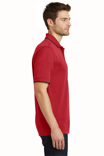 Port Authority K111 Mens Dry Zone Moisture Wicking Short Sleeve Polo Shirt Red/Black Side