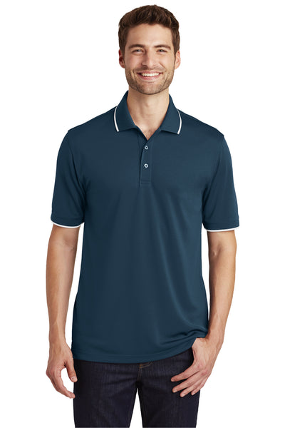 Port Authority K111 Mens Dry Zone Moisture Wicking Short Sleeve Polo Shirt Navy Blue/White Front