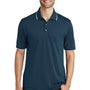 Port Authority Mens Dry Zone Moisture Wicking Short Sleeve Polo Shirt - River Navy Blue/White