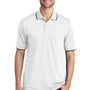 Port Authority Mens Dry Zone Moisture Wicking Short Sleeve Polo Shirt - White/Deep Black