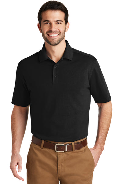 Port Authority K164 Mens SuperPro Moisture Wicking Short Sleeve Polo Shirt Black Front