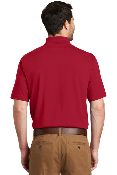 Port Authority K164 Mens SuperPro Moisture Wicking Short Sleeve Polo Shirt Red Back