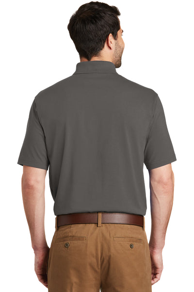 Port Authority K164 Mens SuperPro Moisture Wicking Short Sleeve Polo Shirt Sterling Grey Back