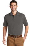 Port Authority K164 Mens SuperPro Moisture Wicking Short Sleeve Polo Shirt Sterling Grey Front
