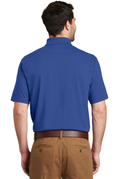 Port Authority K164 Mens SuperPro Moisture Wicking Short Sleeve Polo Shirt Blue Back