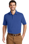 Port Authority K164 Mens SuperPro Moisture Wicking Short Sleeve Polo Shirt Blue Front