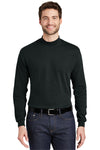 Port Authority K321 Mens Long Sleeve Mock Neck T-Shirt Black Front