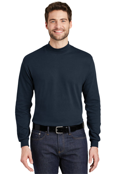 Port Authority K321 Mens Long Sleeve Mock Neck T-Shirt Navy Blue Front