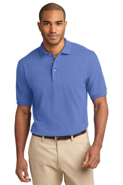 Port Authority K420 Mens Short Sleeve Polo Shirt Blueberry Front
