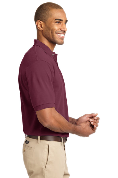 Port Authority K420 Mens Short Sleeve Polo Shirt Burgundy Side