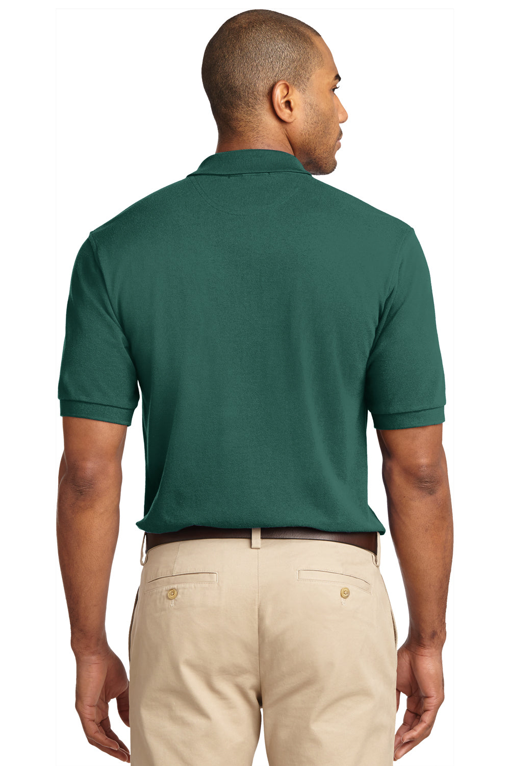 Port Authority K420 Mens Short Sleeve Polo Shirt Forest Green Back