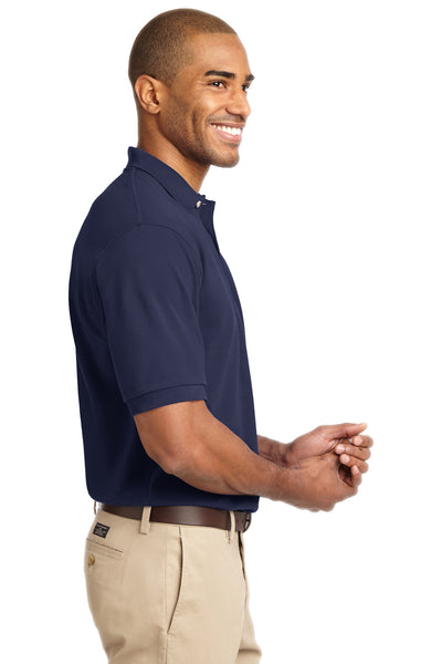 Port Authority K420 Mens Short Sleeve Polo Shirt Navy Blue Side