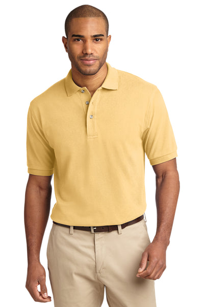 Port Authority K420 Mens Short Sleeve Polo Shirt Yellow Front