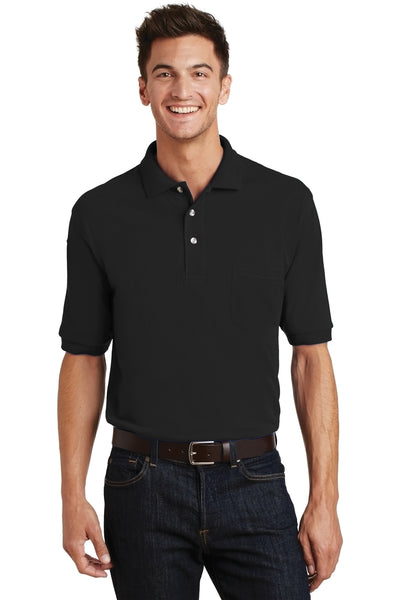 Port Authority K420P Mens Short Sleeve Polo Shirt w/ Pocket Black Front
