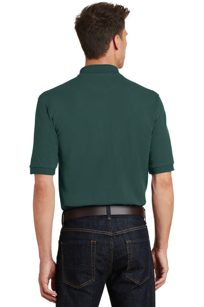 Port Authority K420P Mens Short Sleeve Polo Shirt w/ Pocket Dark Green Back