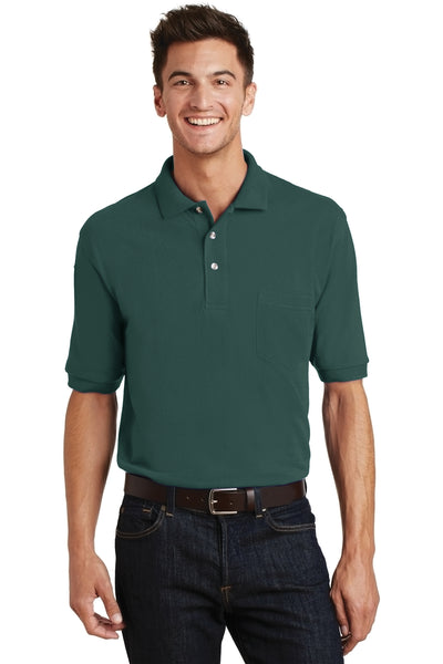 Port Authority K420P Mens Short Sleeve Polo Shirt w/ Pocket Dark Green Front
