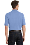 Port Authority K420P Mens Short Sleeve Polo Shirt w/ Pocket Light Blue Back