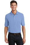 Port Authority K420P Mens Short Sleeve Polo Shirt w/ Pocket Light Blue Front