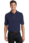 Port Authority K420P Mens Short Sleeve Polo Shirt w/ Pocket Navy Blue Front