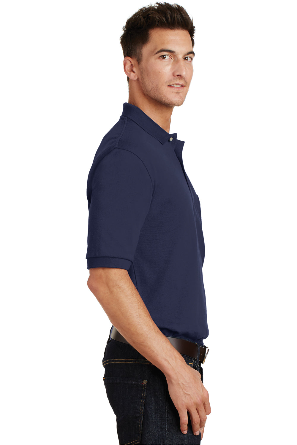 Port Authority K420P Mens Short Sleeve Polo Shirt w/ Pocket Navy Blue Side