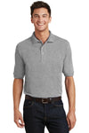 Port Authority K420P Mens Short Sleeve Polo Shirt w/ Pocket Oxford Grey Front