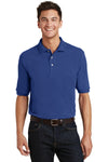 Port Authority K420P Mens Short Sleeve Polo Shirt w/ Pocket Royal Blue Front