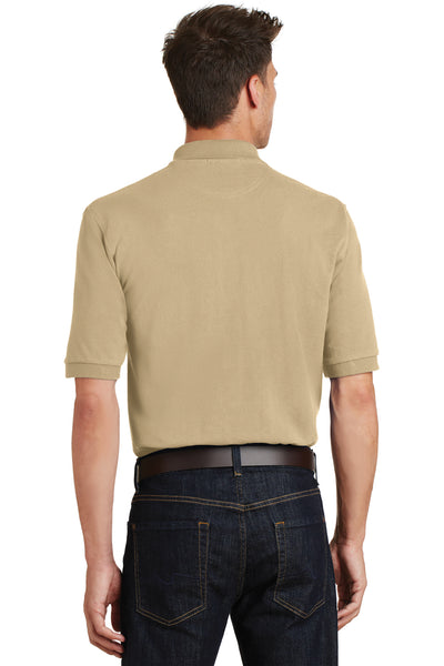 Port Authority K420P Mens Short Sleeve Polo Shirt w/ Pocket Stone Brown Back