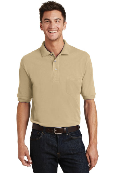 Port Authority K420P Mens Short Sleeve Polo Shirt w/ Pocket Stone Brown Front