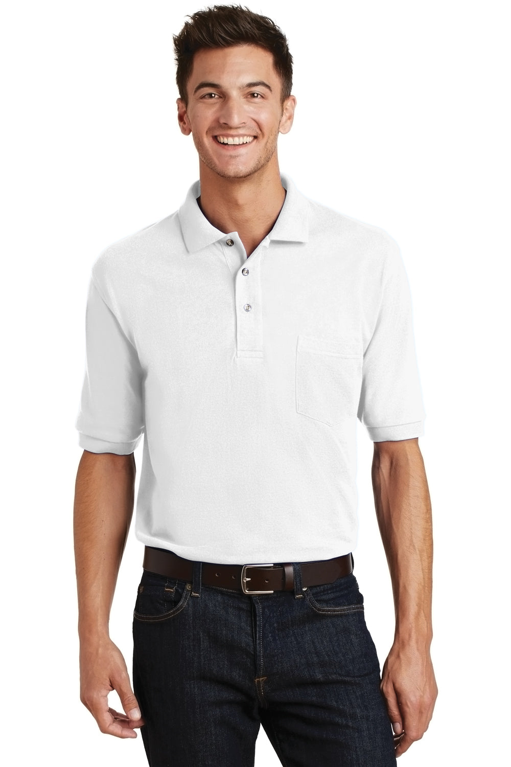 Port Authority K420P Mens Short Sleeve Polo Shirt w/ Pocket White Front