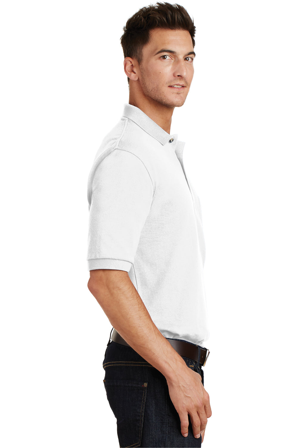 Port Authority K420P Mens Short Sleeve Polo Shirt w/ Pocket White Side