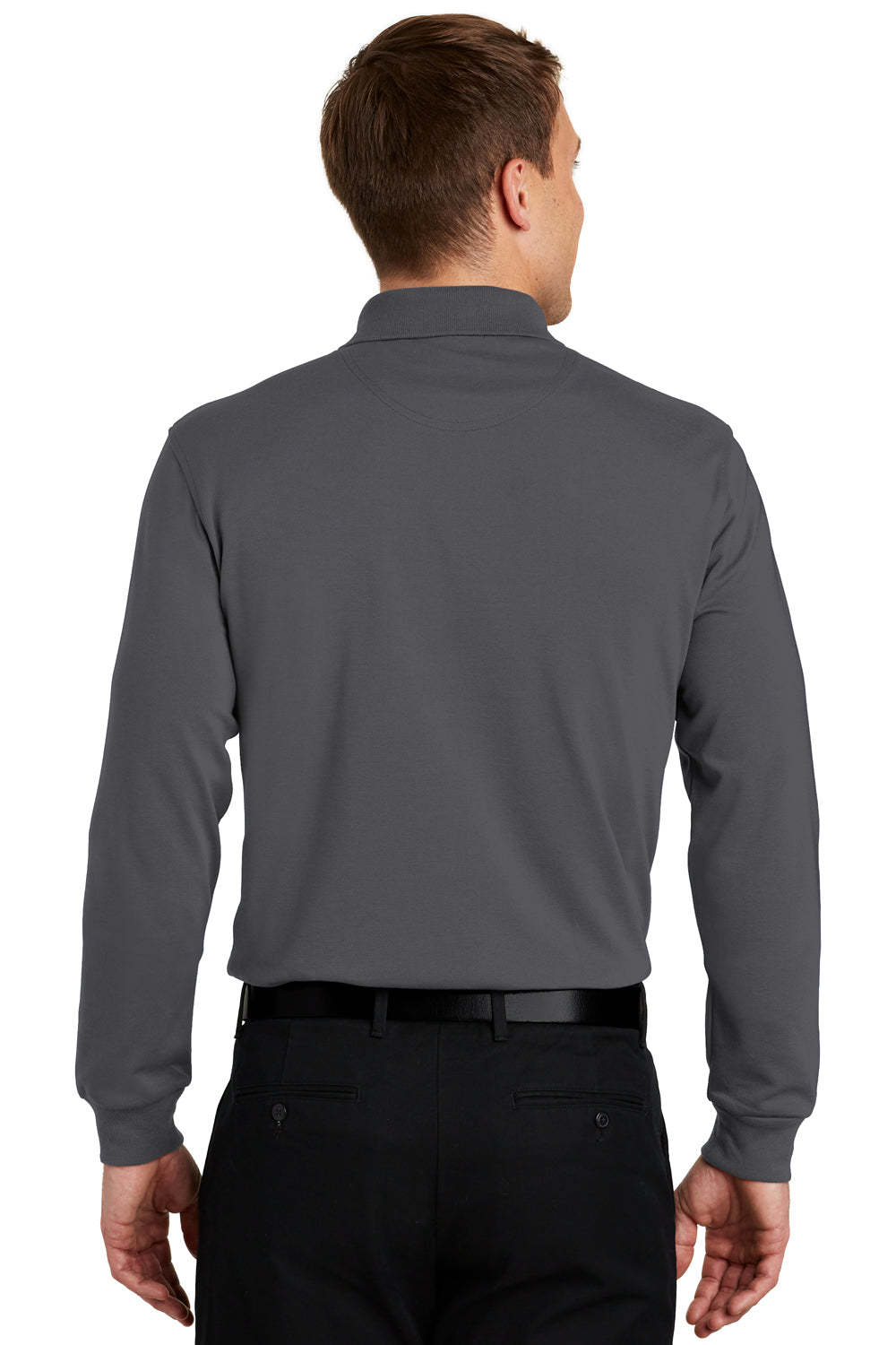 Port Authority K455LS Mens Rapid Dry Moisture Wicking Long Sleeve Polo Shirt Charcoal Grey Back