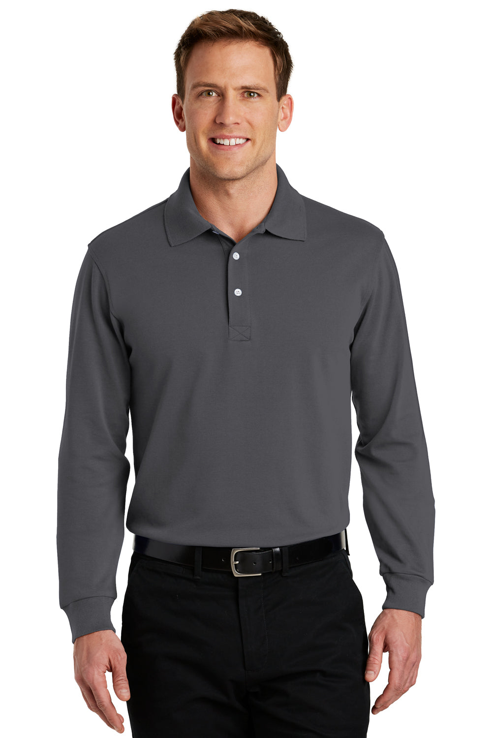 Port Authority K455LS Mens Rapid Dry Moisture Wicking Long Sleeve Polo Shirt Charcoal Grey Front