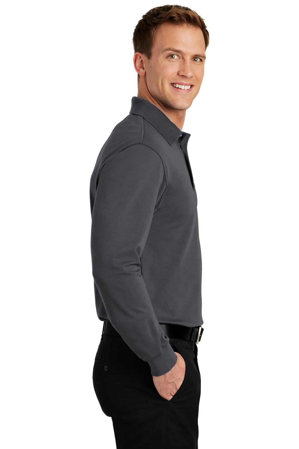 Port Authority K455LS Mens Rapid Dry Moisture Wicking Long Sleeve Polo Shirt Charcoal Grey Side