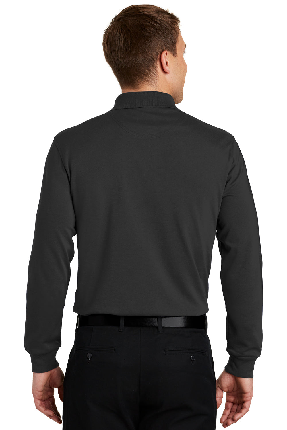 Port Authority K455LS Mens Rapid Dry Moisture Wicking Long Sleeve Polo Shirt Black Back