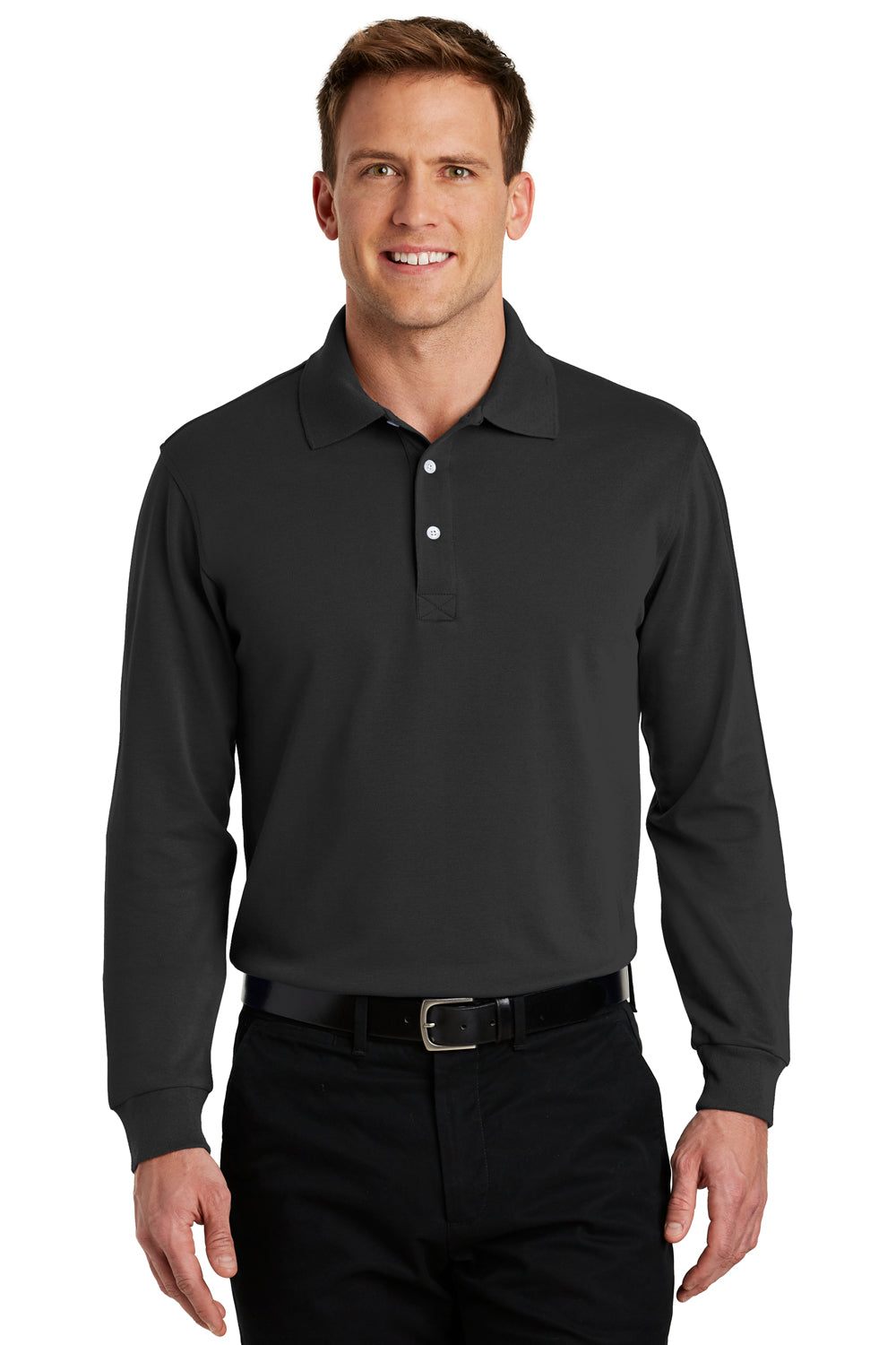 Port Authority K455LS Mens Rapid Dry Moisture Wicking Long Sleeve Polo Shirt Black Front