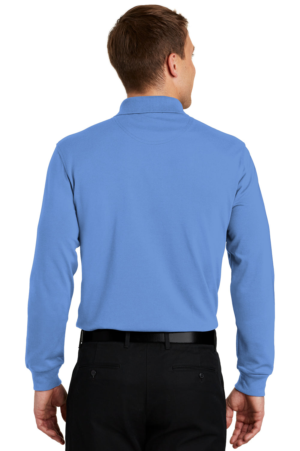 Port Authority K455LS Mens Rapid Dry Moisture Wicking Long Sleeve Polo Shirt Riviera Blue Back