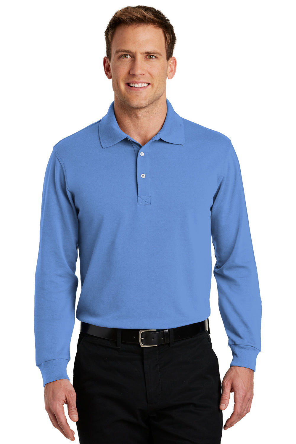 Port Authority K455LS Mens Rapid Dry Moisture Wicking Long Sleeve Polo Shirt Riviera Blue Front