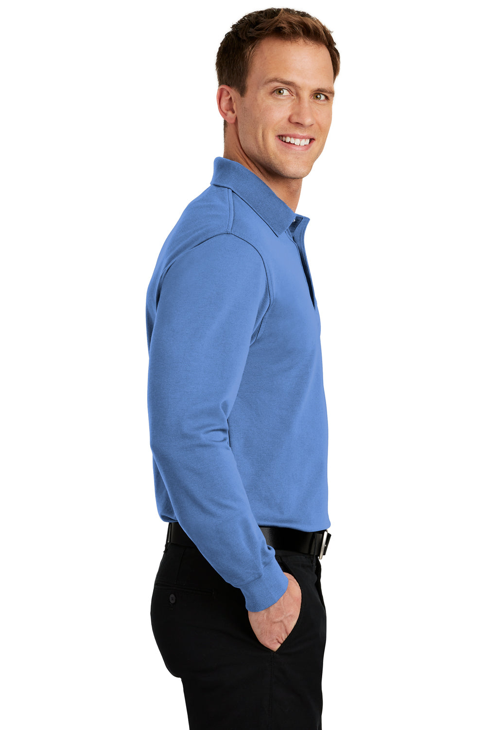 Port Authority K455LS Mens Rapid Dry Moisture Wicking Long Sleeve Polo Shirt Riviera Blue Side